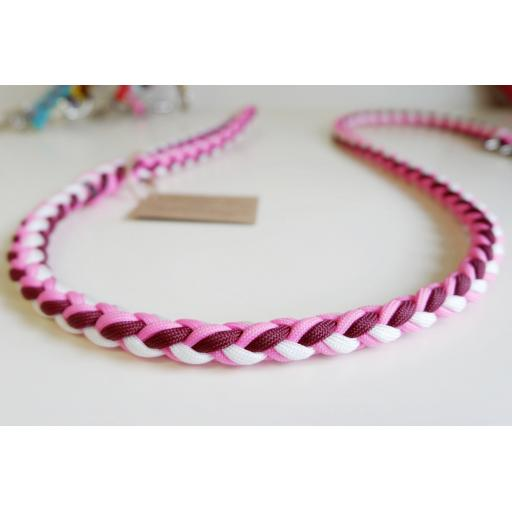 1m Paracord 550 Rope Lead - 'Raspberry Ripple'
