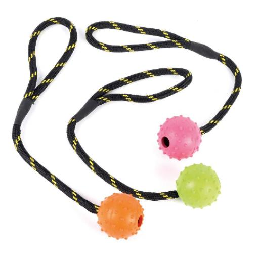 Tough Toys Studded Rope Ball 2.5""