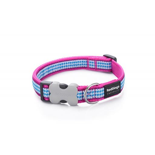 Red Dingo Dog Collar, Pink Dogtooth