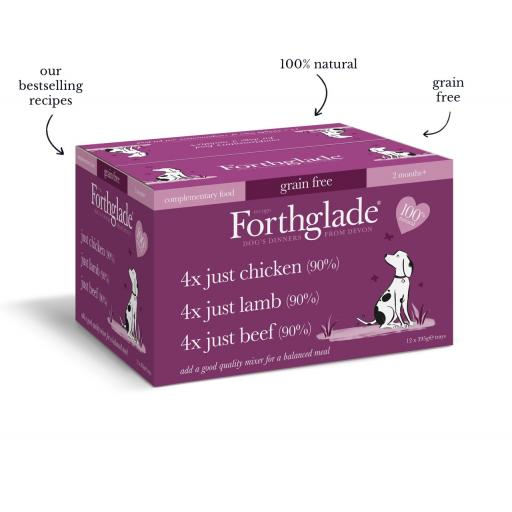 Forthglade Just Chicken, Lamb & Beef 395g - x 12 Variety Pack