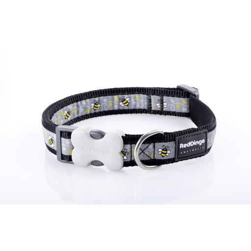 Red Dingo Dog Collar, Black Bumble Bee