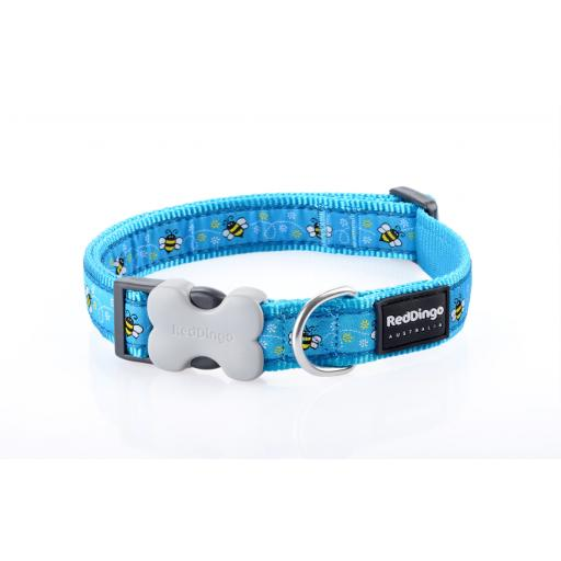 Red Dingo Dog Collar, Turquoise Bumble Bee