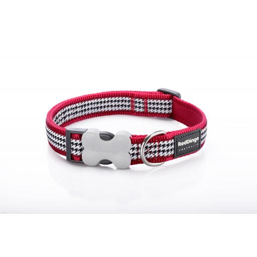 Red Dingo Dog Collar, Red Dogtooth