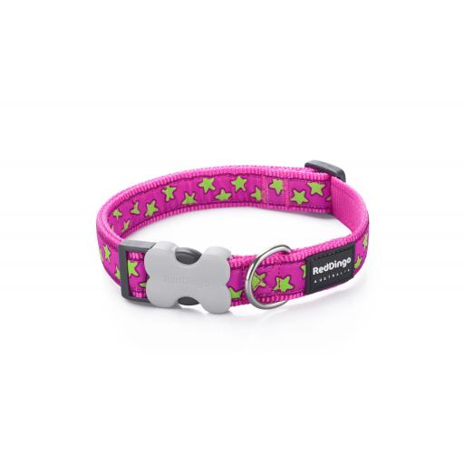 Red Dingo Dog Collar, Pink Star