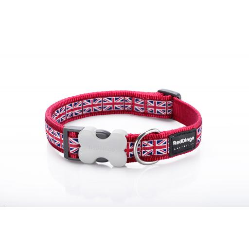 Red Dingo Dog Collar, Union Jack