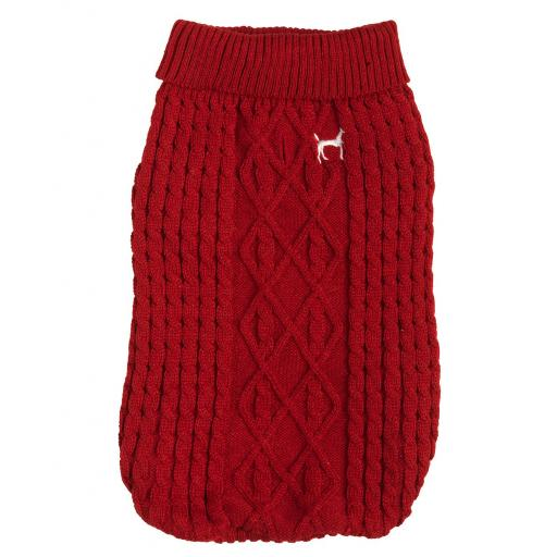 Cosy Polo Neck Cable Knit Christmas Jumper, Red