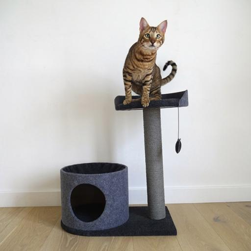Rosewood Charcoal Felt Cat House & Perch