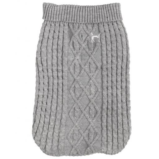 Cosy Polo Neck Cable Knit Christmas Jumper, Grey