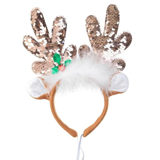 Sequin Colour Change Reindeer Headband for Dogs