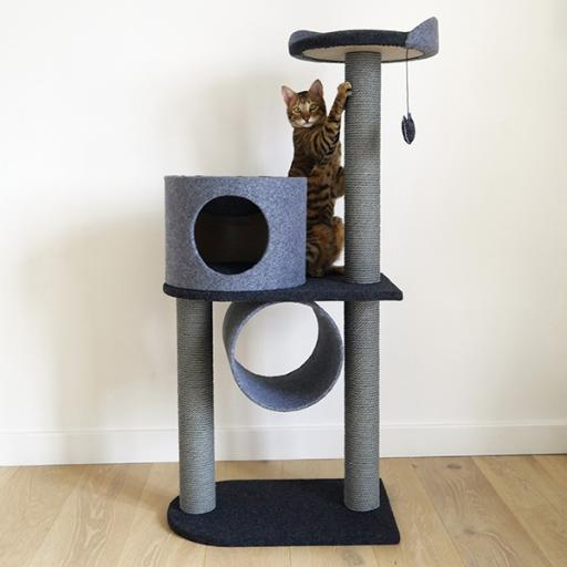 Rosewood Charcoal Felt Double Cat Tower